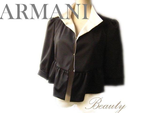 *Beauty*ARMANI黑色立領荷葉下擺七分袖外套 WE14