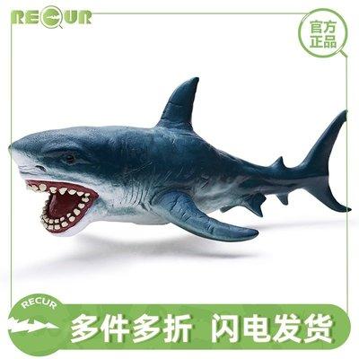 佰佰RECUR軟膠仿真大白鯊魚 海洋世界生物海龜鯨魚小動物模型玩具男孩