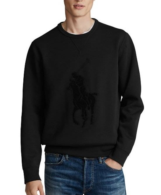 POLO Ralph Lauren 大馬 成人款 長袖 大學T 黑色 同色大馬