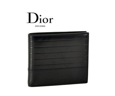 Dior HOMME ► ( 黑色) 真皮壓紋兩摺短夾 錢包 皮夾 中性款|100%全新正品| 特價!