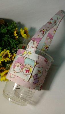 Fen手工小舖--手工環保飲料提袋-卡通款粉紅色3-環保提袋-大杯飲料提袋-手提杯套-輕便型提袋-環保愛地球