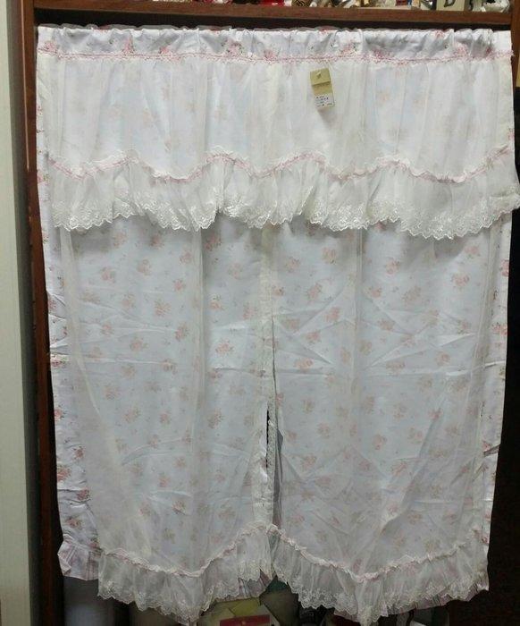 美生活館--全新鄉村風格拼布 白色粉紅玫瑰花薄紗布蕾絲  中門簾/裝飾簾/櫃簾/窗簾 90*90 cm