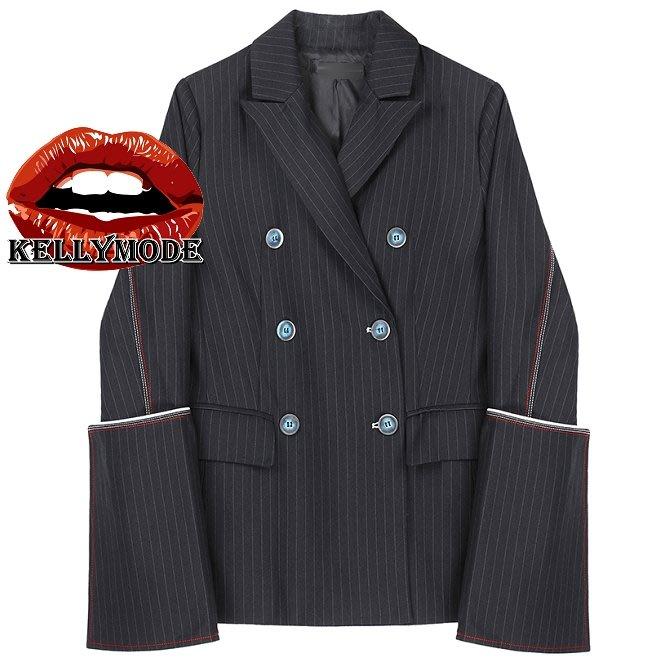 ♥kellymode♥全新正韓19秋冬新款 潮流時尚 條紋  雙排扣 寬袖 翻領長袖 西裝外套 短版西裝外套