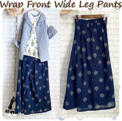日貨Wrap Front Wide Leg Pants 涼感薄棉森林印花斜折裙片寬褲-深藍 Size M/L兩尺寸