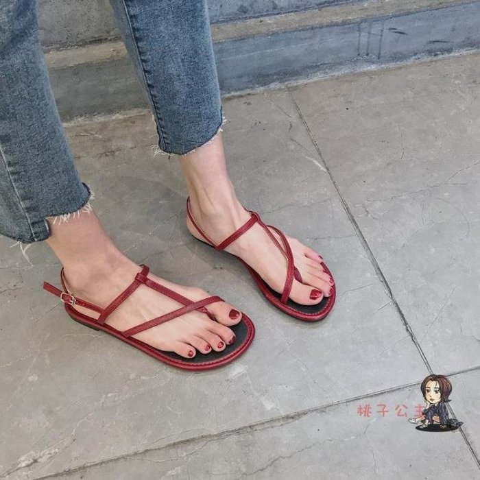 涼鞋 韓版紅色平底涼鞋女學生夏2019新款軟底簡約百搭度假夾趾羅馬涼鞋 2色35-39
