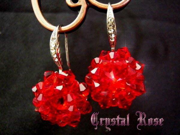 ※水晶玫瑰※ SWAROVSKI 蓮花水晶 進口晶鑽耳勾式耳環(DD198)