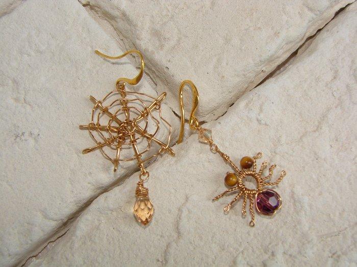 蜘蛛與網 紫 香檳金水晶 耳環˙Jill&Joe 獨樹一格的妳 一定要Buy˙獨家設計不對稱