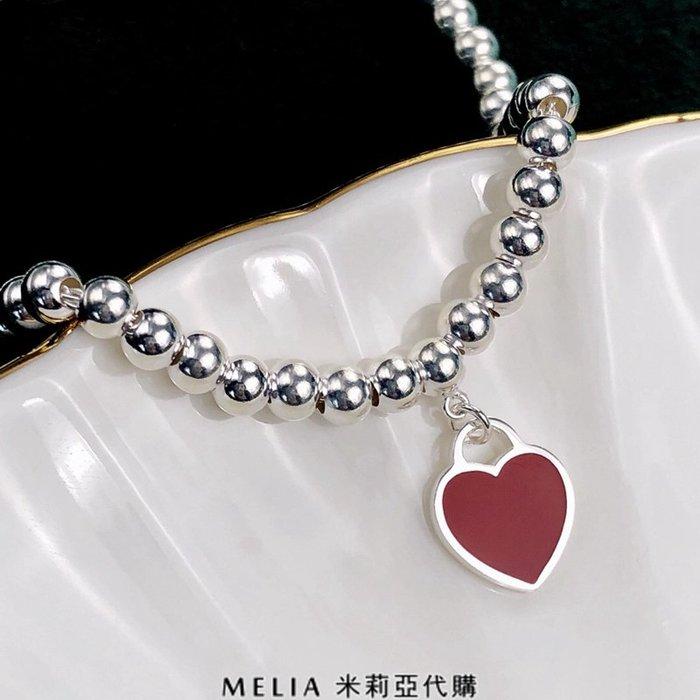 Melia 米莉亞代購 Tiffany&Co. 925純銀 2018Sss Tiffany 蒂芙尼 手鍊 圓珠 紅色愛心
