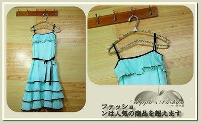 ♔公主城堡♔粉嫩色系 荷葉波浪裙擺 細肩洋裝 平口洋裝