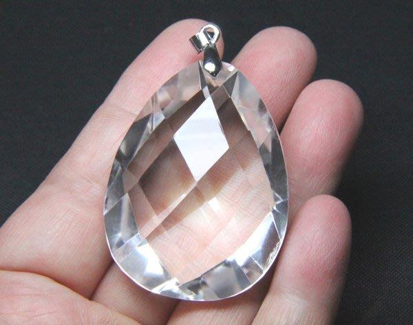 【小熊水晶窩】大顆霸氣!立體切割面 天然白水晶墜子01 重36.9公克Ⅳ