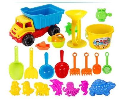 [妞妞愛挖寶]SHINY STAR大號21件組沙灘玩沙組沙灘玩具組兒童沙灘玩具車套裝桶寶寶玩沙挖沙漏沙灘玩具