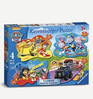 (預購)(下標後7天寄出)英國汪汪隊立大功PAW PATROL Ravensburger 4-in-1 shaped puzzles拼圖