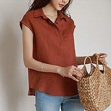 YOHO 棉麻衫 (18YN0707-2) 百搭純色翻領寬鬆亞麻襯衫 背心 短袖上衣 棉麻T恤