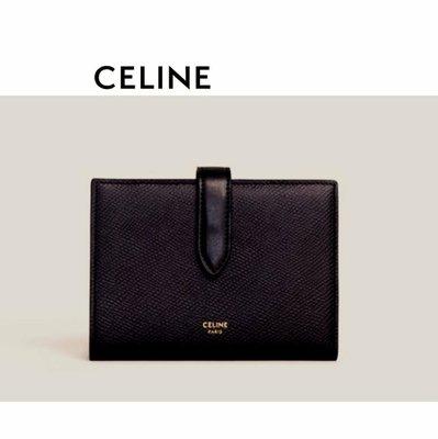 CELINE►( 黑色×金屬金色)  防刮壓紋 真皮兩摺中短夾 錢包 皮夾|100%全新正品|特價!