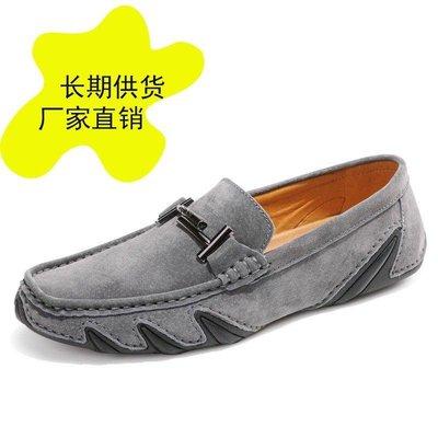 日和生活館 秋季休閒八爪魚底魚紋男士豆豆鞋男真皮韓版英倫磨砂男單鞋 415D88