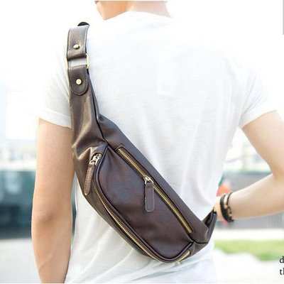 原創設計胸包韓版新款潮酷時尚男士小包斜挎包休閒包手機腰包   全館免運