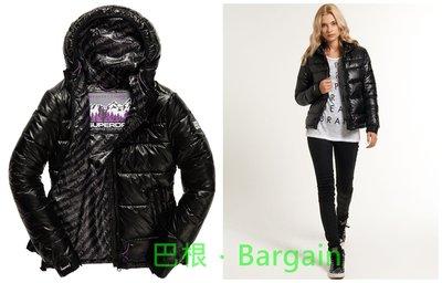Superdry 極度乾燥 女 黑色 Logo 亮面 Ultra Lite Intrepid 鋪棉 連帽 外套 夾克
