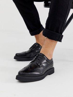 ◎美國代買◎ASOS巴洛克雕花鞋面搭配條碼線條鞋底英倫龐克搖滾風巴洛克雕花條碼鞋底休閒皮鞋~歐美街風~大尺碼