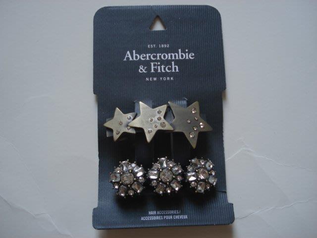 【天普小棧】Abercrombie&Fitch A&F Shine Hair Clips星星水鑽髮飾髮夾2個/組現貨抵臺