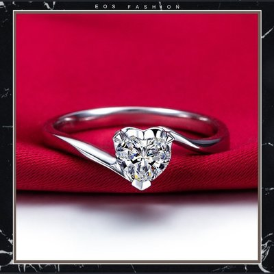 EOS 時尚精品 (直購價非活動價)日系風格925純銀CZ鑽石戒熱銷款 心型鋯石鑽戒 求婚 婚紗攝影 飾品 珠寶紅寶藍寶