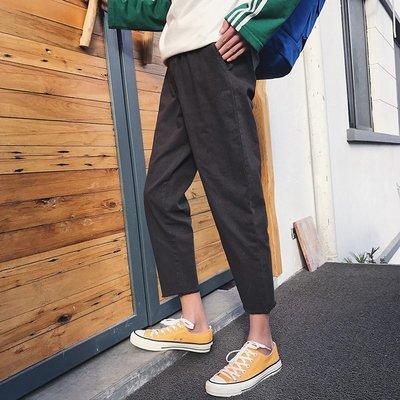 時尚服飾 網紅黑色褲子學生春季休閑褲男士韓版潮流寬松直筒九分褲潮牌男裝