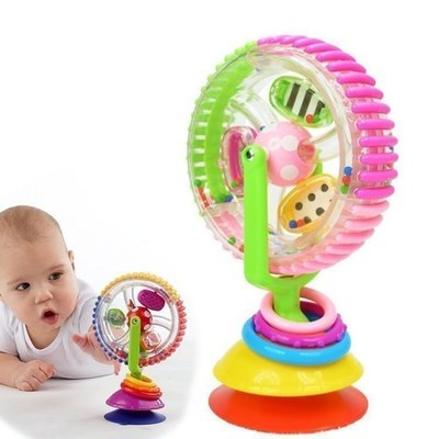 ~ 出貨~~超 嬰兒館~讓寶寶乖乖坐餐桌的神器 sassy彩色風輪摩天輪風車帶吸盤可固定餐椅玩具益智玩具