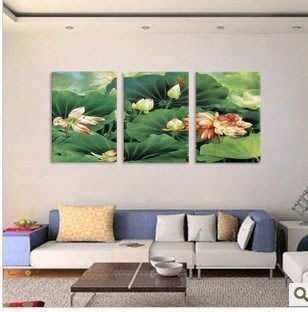 【優上精品】荷塘風景墻畫 蓮花裝飾畫 家居精品無框畫 酒店高檔掛畫 花卉壁畫(Z-P3207)