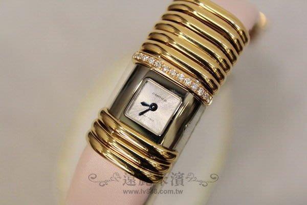 高雄(裕誠店)遠麗米濱全新二手名牌館~K2167 Cartier 18K 帶鑽 粉紅 錶帶 手環 腕錶  (真品)