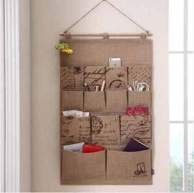 M-溢彩年華壁掛布藝收納袋雜物牆面收納掛袋多格牆壁門後收納儲物袋