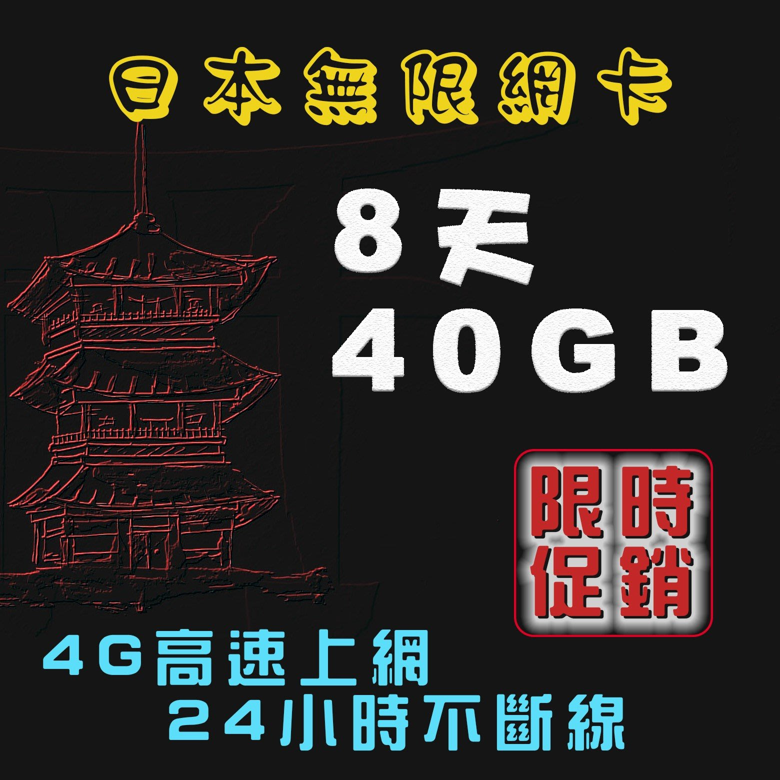 限時促銷日本無限網卡8天40GB 日本上網卡(雙網Docomo / Softbank)