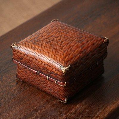 ₴金凱悅㍐竹編茶具收納盒手工日式便攜提盒整理茶杯收納功夫茶具