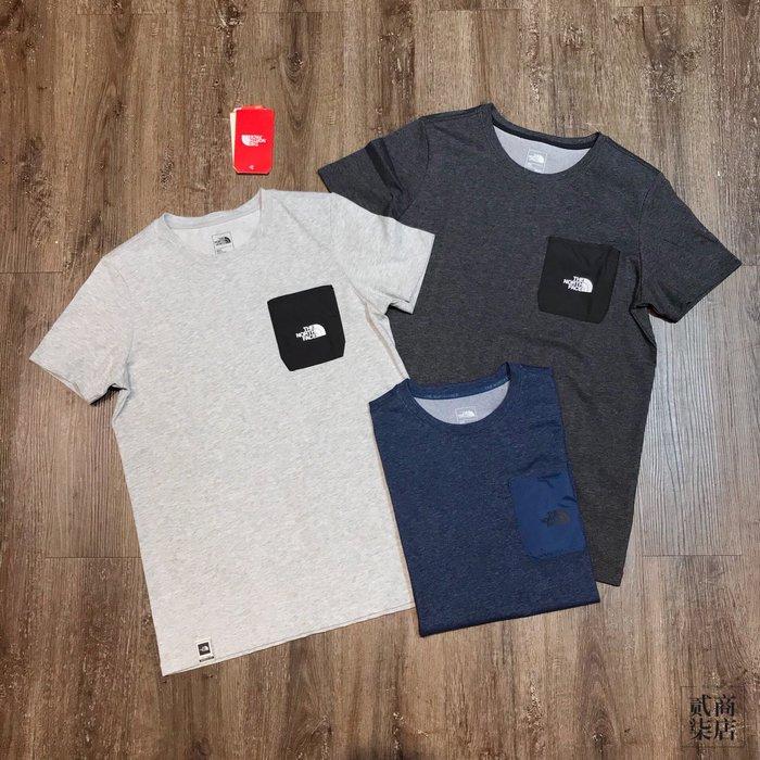(貳柒商店) THE NORTH FACE Logo Tee 男款 口袋 短袖 TNF 基本款 灰 藍 NF0A3V3T