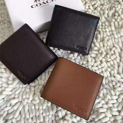 【八妹精品】COACH 74991 真皮皮夾 男用真皮短夾  男士錢包