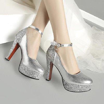 大尺碼女鞋 小尺碼女鞋 白色超高跟防水臺女鞋單鞋金色新娘鞋亮片結婚鞋宴會晚禮服公主鞋