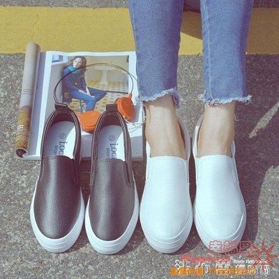 厚底鞋內增高小白鞋一腳蹬女鞋夏季厚底懶人鞋黑白色百搭夏 全館免運