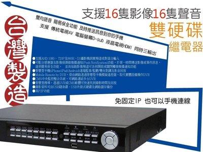 H265 內建繼電器款 環名 HME 老鷹牌 16影16聲音 雙硬碟 1080P 監控主機 HM-165D 一年保固