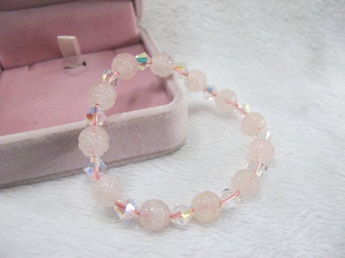 二手舖~ NO.43 天然粉水晶 水晶手鍊 項鍊 串珠
