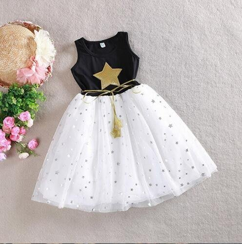 [C.M.平價精品館]90~140現貨/最耀眼的星星紗裙純棉無袖洋裝小童/中童