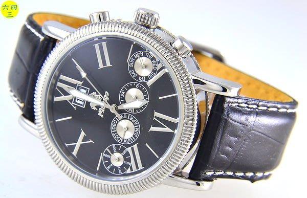(六四三精品)佛朗明哥超大錶徑大三針四眼自動機械錶(年.月.日.星.24小時制)年曆錶.黑面