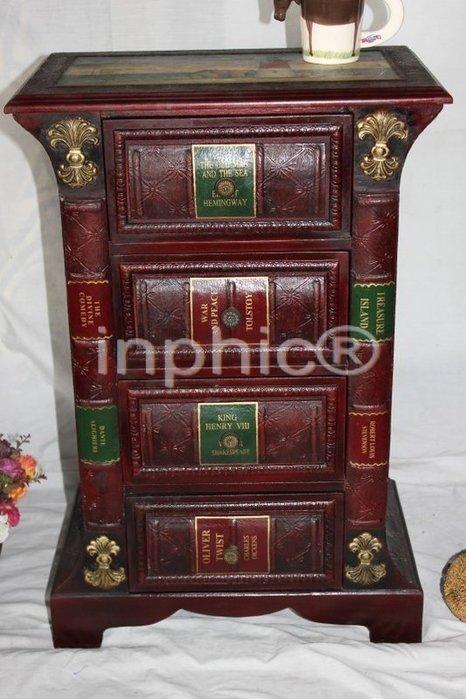 INPHIC-歐式古典書型風格家居飾品 懷舊傢俱 仿舊櫃子 木質4斗櫃