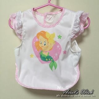 Ariel's Wish日本迪士尼阿卡將小美人魚離乳學習二合一用餐軟布口袋收納圍兜兜BABY滿月彌月周歲禮-日本製-現貨