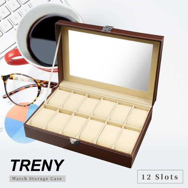 【TRENY直營】TRENY 12位手錶收納盒- 經典皮革 棕色 經典皮革 防塵防刮 精美展示 1551B
