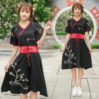中大尺碼改良式漢服中國風刺繡短袖復古風女改良漢服民族風古裝表演出ZJ1817