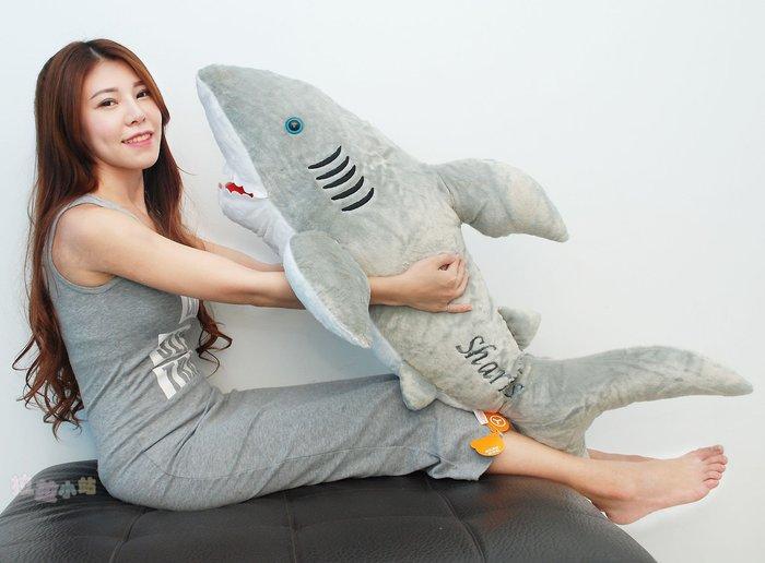超大鯊魚娃娃抱枕~長120cm~鯊魚抱枕~大白鯊創意抱枕~海洋動物娃娃