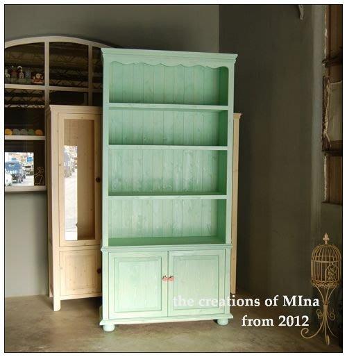 米娜天然直感手作-書櫃展示櫃訂做系列1 薄荷綠復古型書櫃