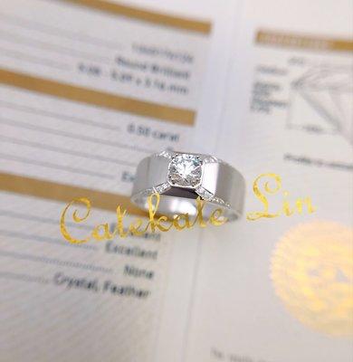 GIA證書50分鑽石I SI2 3EX+清爽大方男戒鑽戒(鑽石10分)附證書、禮盒、提袋。