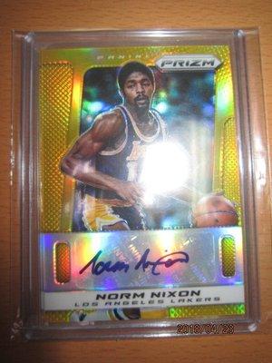 網拍讀賣~Norm Nixon~傳奇球星~PRIZM極低限量金版簽名卡/10~貼紙簽~共1張~1200元~輕鬆付~非常少
