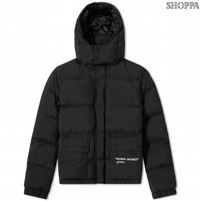 【SHOPPA】OFF-WHITE 合身 短版 羽絨 外套 18秋冬 黑色