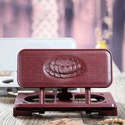 【萬佛緣】浮雕蓮花經書架 木紋誦經架 可折疊書架 擺放經文 佛教用品桌面