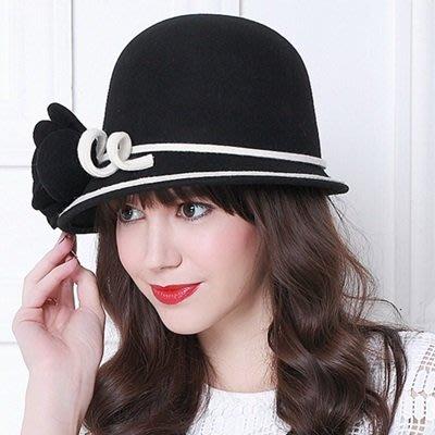 羊毛呢帽 禮 帽-歐美時尚優雅花朵女帽子73tk45[獨家進口][米蘭精品]